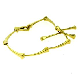 Gucci 18K Yellow Gold Segmented Bamboo Style 3 Ornament Dangle Bracelet