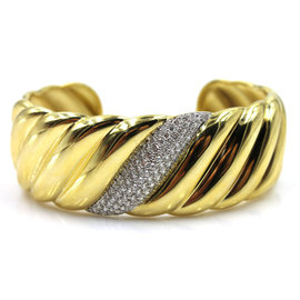 David Yurman 18K Yellow Gold & Diamond Sculpted Cable Wide Cuff Bracelet