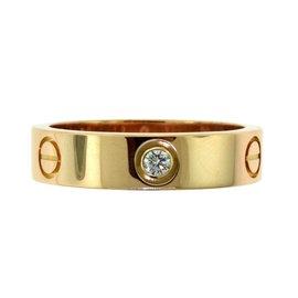 Cartier Love 18K Rose Gold Diamonds Ring Size 10