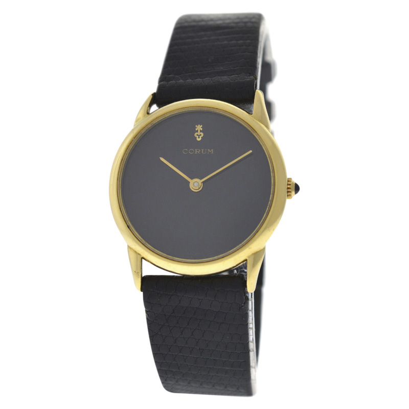 "Image of ""Corum 18K Yellow Gold / Leather 29 mm Womens Watch"""