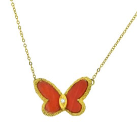 Van Cleef & Arpels 18K Yellow Gold with Diamond & Coral Butterfly Alhambra Pendant Necklace