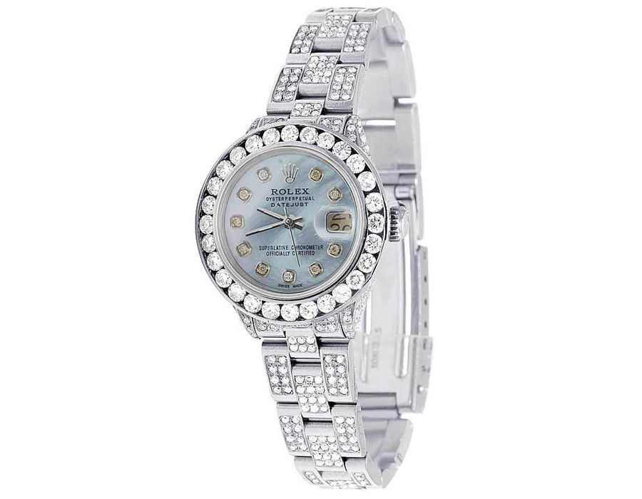 "Image of ""Rolex Datejust Oyster Stainless Steel Blue Mother of Pearl Dial Custom"""