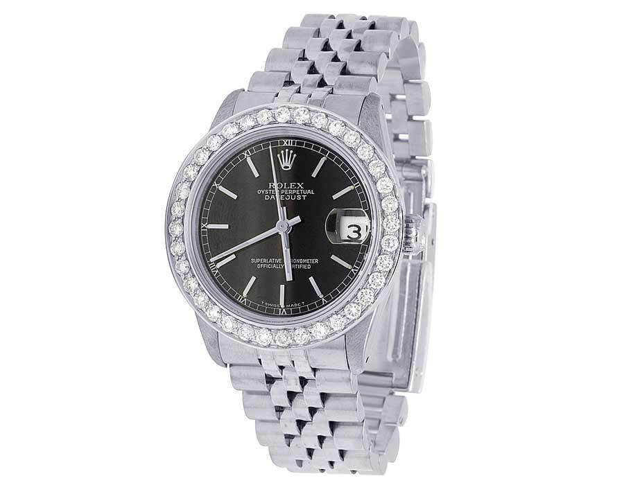 """Image of """"Rolex Datejust 68240 Stainless Steel Oyster Black Dial 2.5ct Diamond"""""""