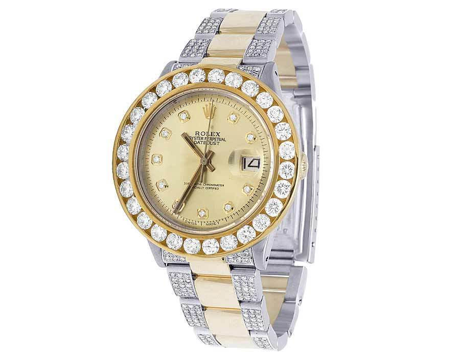 """Image of """"Rolex Datejust Two Tone 18K/ Steel Champagne Dial Custom 11.75ct"""""""