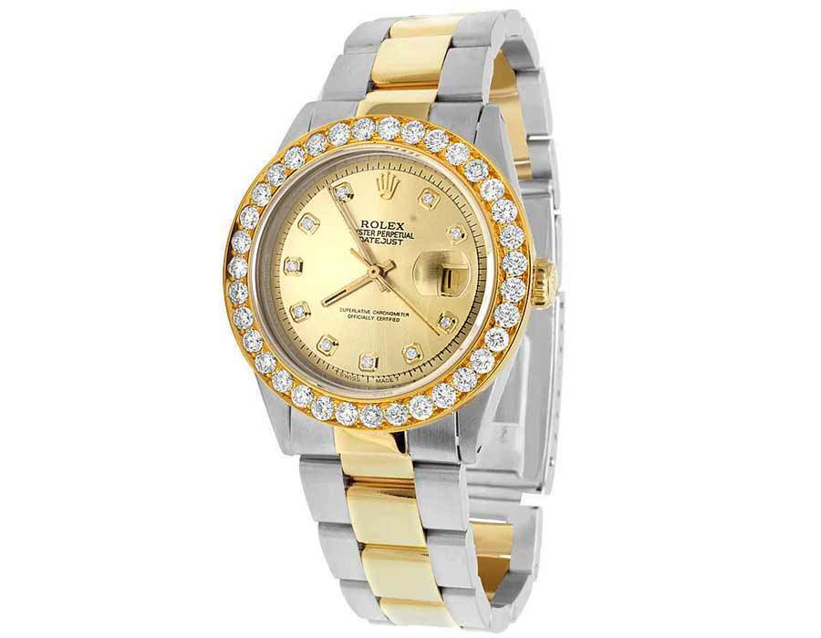 """Image of """"Rolex Datejust 1601 Two Tone 18K/Steel Champagne Dial 5.25ct Diamond"""""""