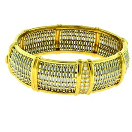 Cartier 18K Yellow Gold and Stainless Steel Diamond Basket Weave Bracelet Bangle