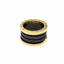 Bulgari B.Zero1 18K Rose Gold Black Ceramic Ring Size 5.75