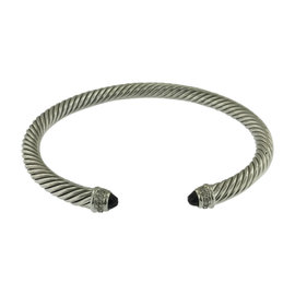 David Yurman Cable Classic 925 Sterling Silver with Diamond and Onyx Bracelet