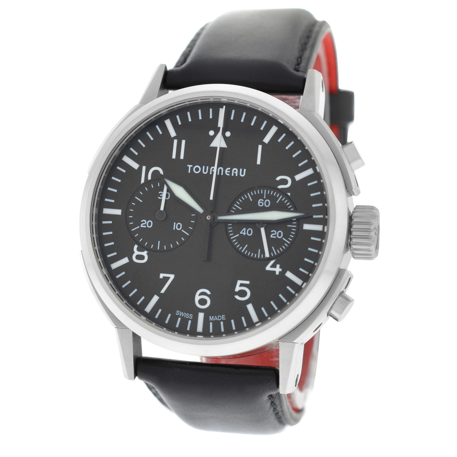 """Image of """"Tourneau Aviator TNY 400301 Stainless Steel / Leather Automatic 40mm"""""""