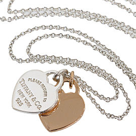 Tiffany & Co. Elsa Peretti 925 Sterling Silver & 18K Rose Gold Double Heart Necklace