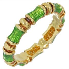 Tiffany & Co. 18K Yellow Gold & Enamel Bamboo Design Ring Size 5