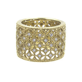 18K Yellow Gold with 0.50ct Diamond Lattice Wide Band Ring Size 7
