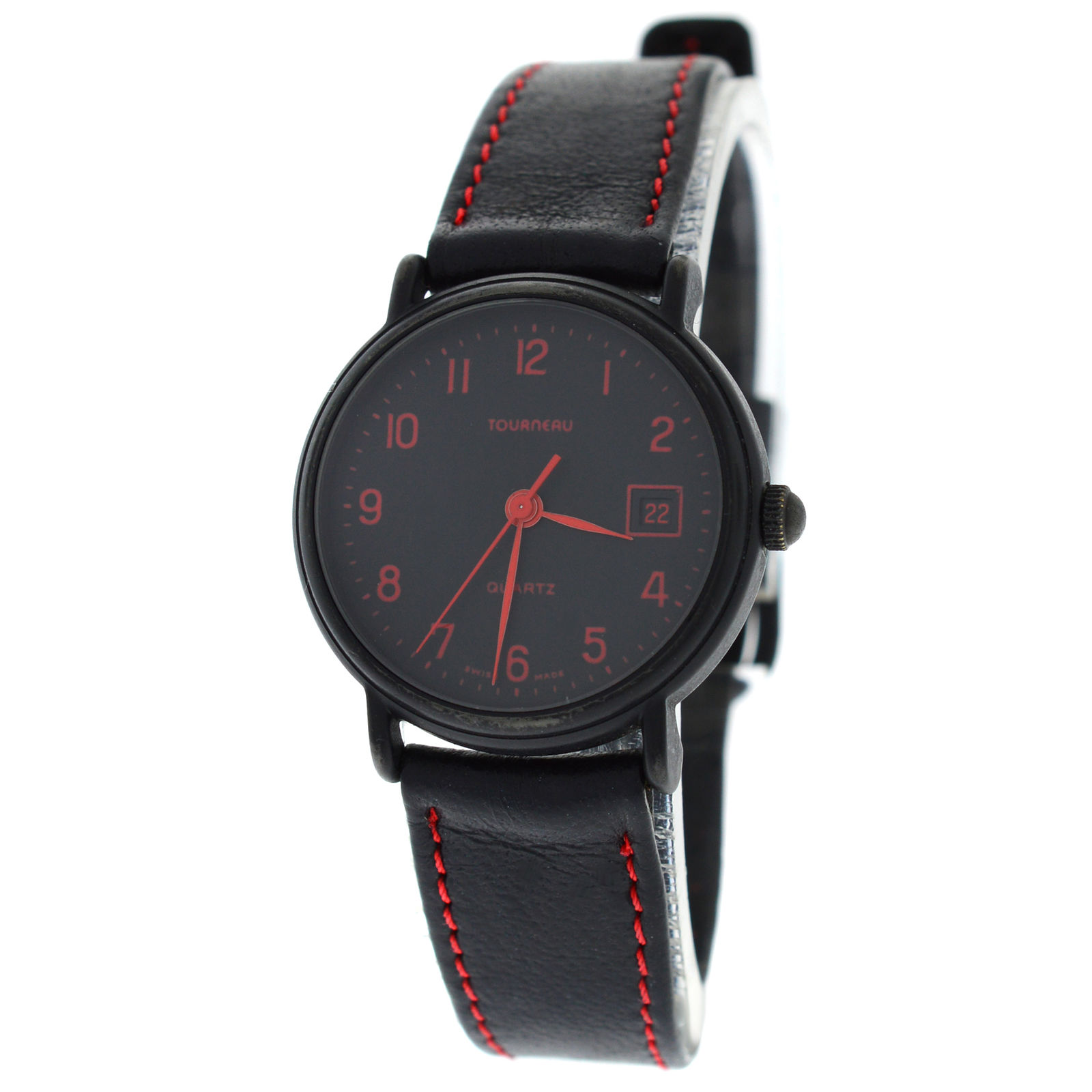 "Image of ""Tourneau Black PVD Coated Stainless Steel & Leather Quartz 25mm Womens"""