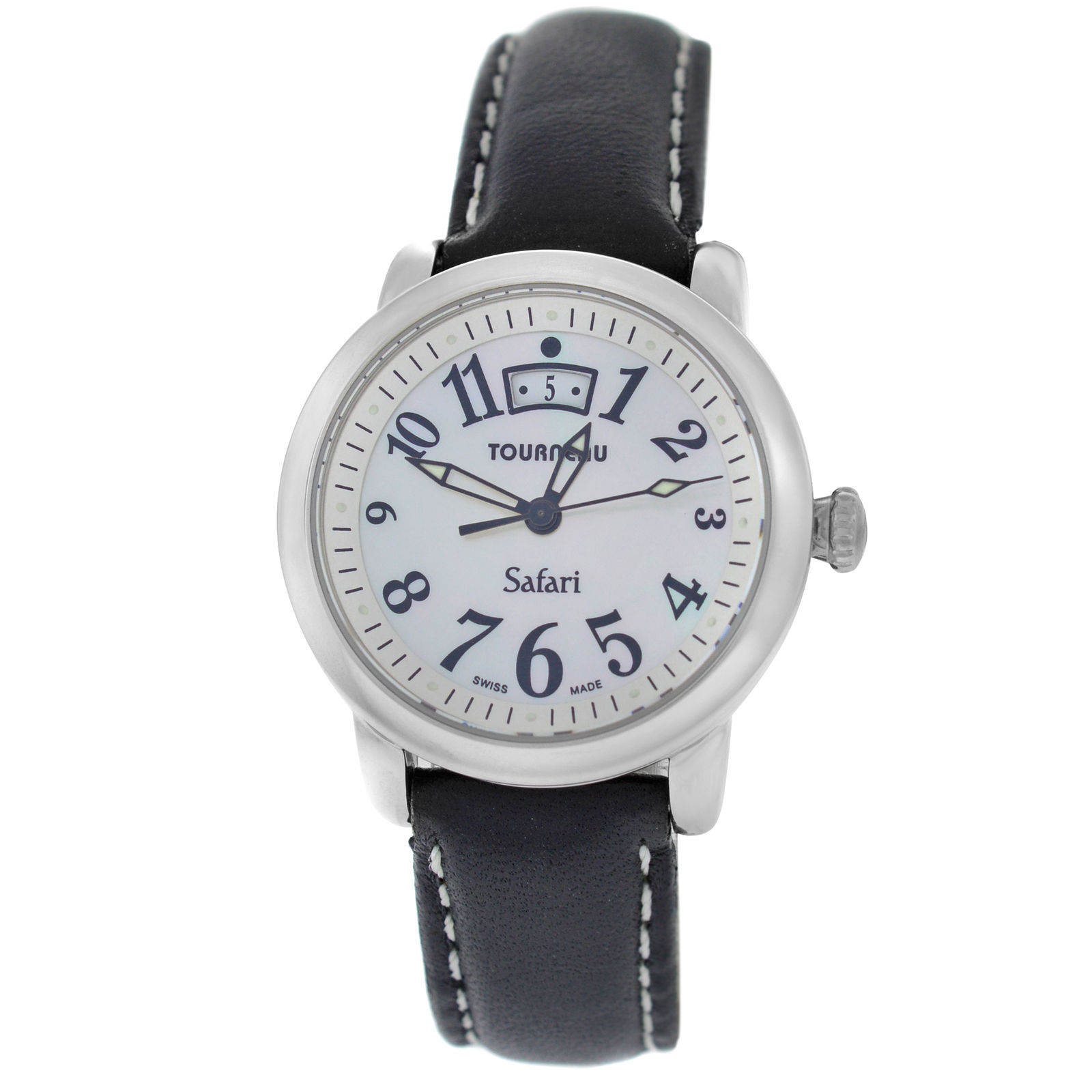 "Image of ""Tourneau Safari Stainless Steel & Leather Quartz 31mm Womens Watch"""