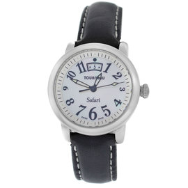 Tourneau Safari Stainless Steel & Leather Quartz 31mm Womens Watch