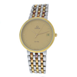 Omega Deville 7220.11.00 Stainless Steel & 18K Yellow Gold Plated Quartz 32mm Mens Watch