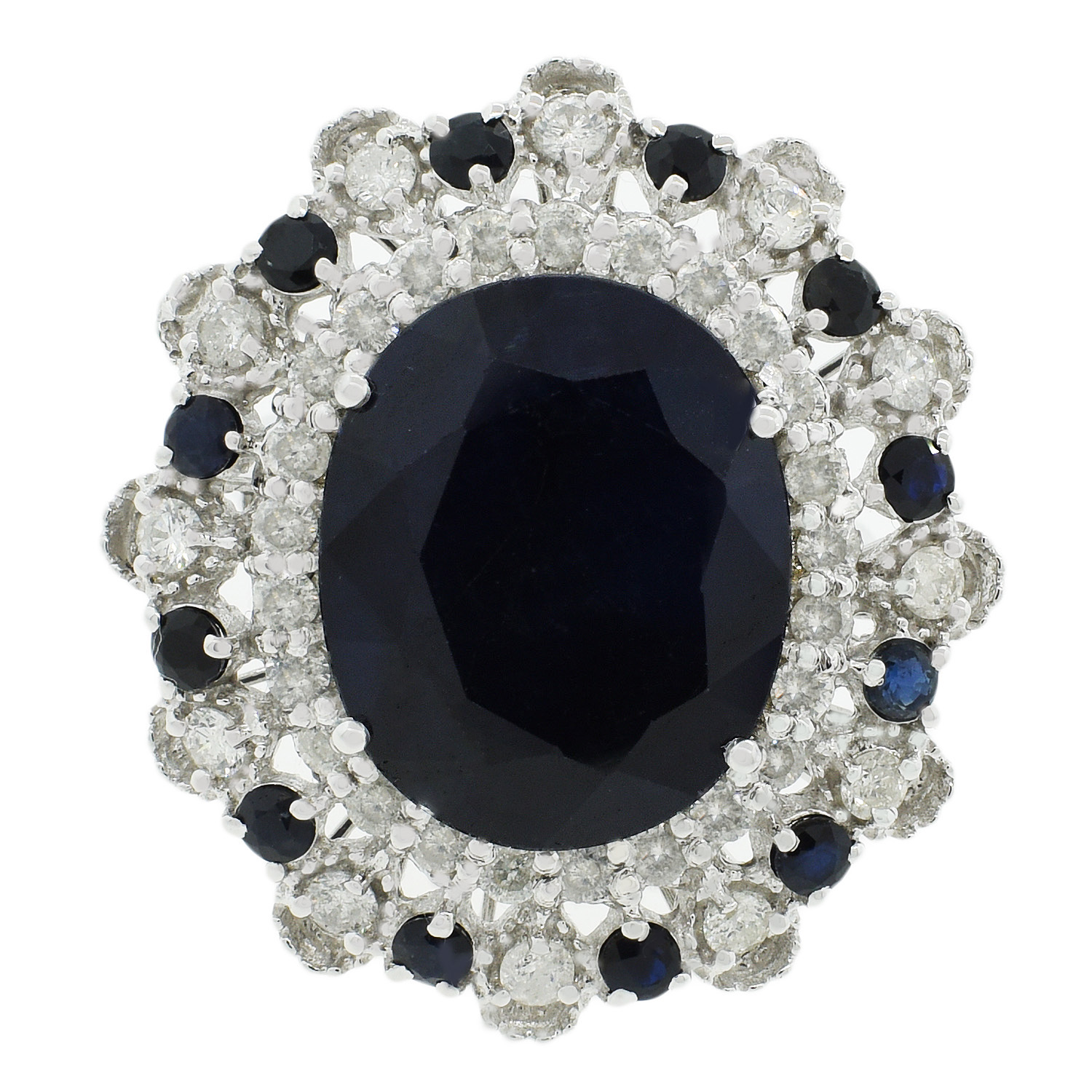 "Image of ""14Kt White Gold Blue Sapphire and Diamond Ring"""