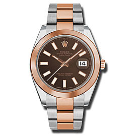 Rolex Two-Tone DateJust II Rose Gold Chocolate Index Dial Watch