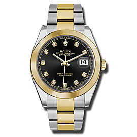 Rolex Two-Tone DateJust II Yellow Gold Black Diamond Dial Watch