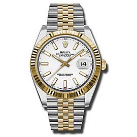 Rolex Two-Tone DateJust II 126333 wij Yellow Gold White Index Dial Watch