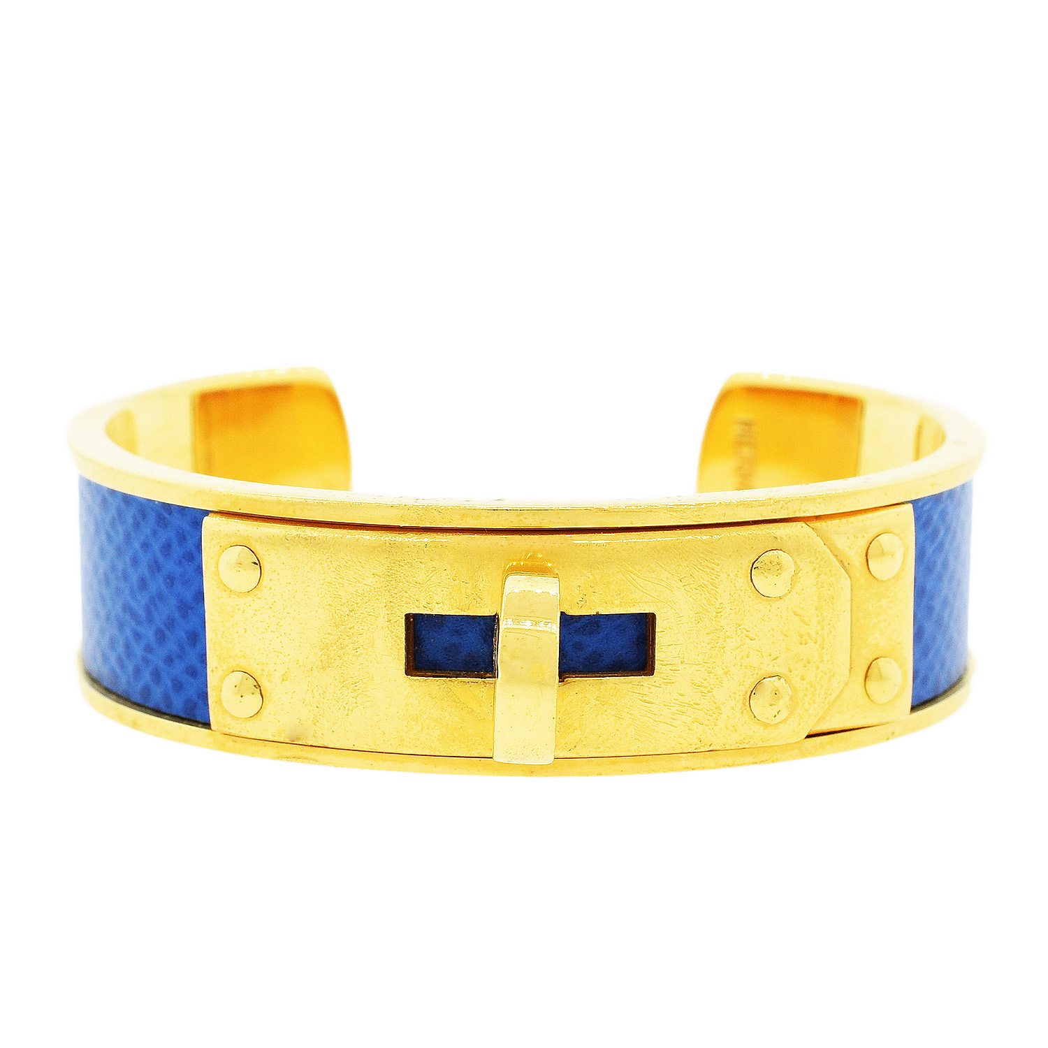 "Image of ""Gold Plated Hermes Gold Plated Blue Kelly Cadena Cuff Bangle Bracelet"""