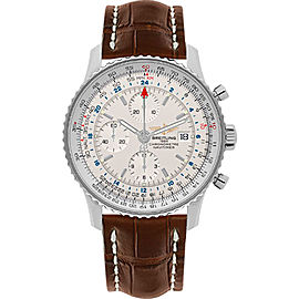 Breitling Navitimer World A2432212/G571/443X Stainless Steel / Brown Leather 46mm Mens Watch