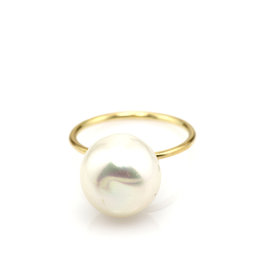 Tous 18K Yellow Gold Pearl Ring Size 7
