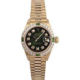 Rolex President 18K Yellow Gold Green Vignette Diamond 26mm Watch