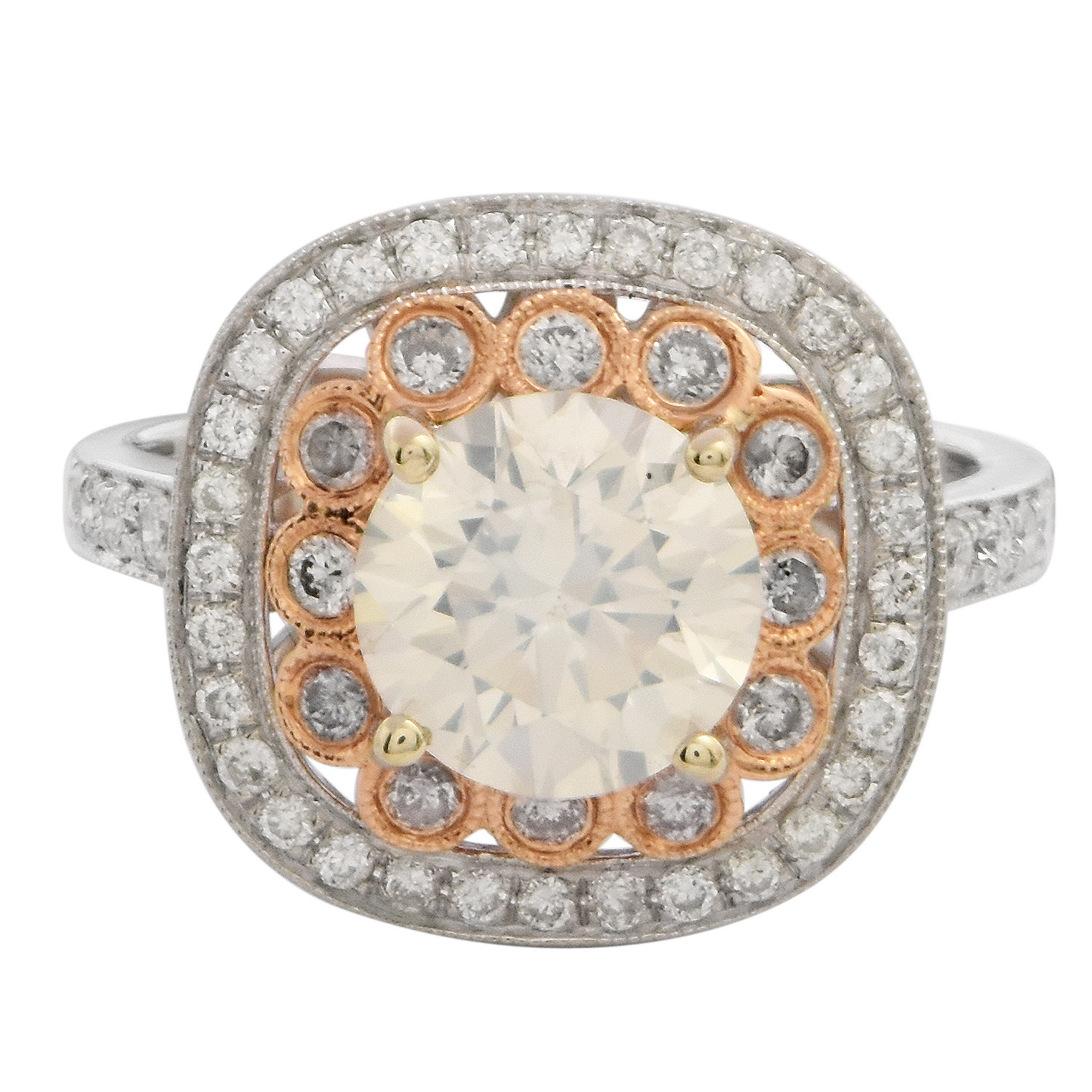 "Image of ""18Kt White and Rose Gold Diamond Ring (Egl USA Certified)"""
