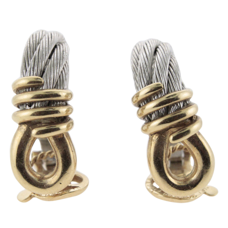 "Image of ""Fred 18K Yellow Gold & Steel Cable Earrings"""