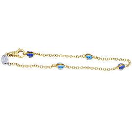 Aaron Basha 18K Yellow Gold Enamel Lady Bug Charm Bracelet