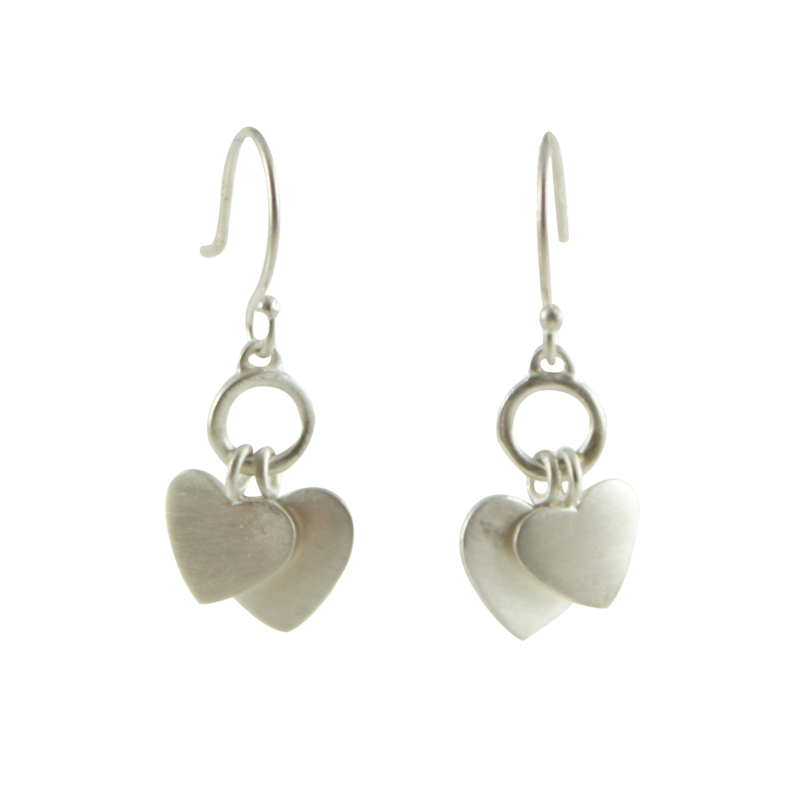 "Image of ""ME & RO Sterling Silver Double Heart Drop Dangle Hook Earrings"""