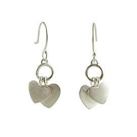ME & RO Sterling Silver Double Heart Drop Dangle Hook Earrings