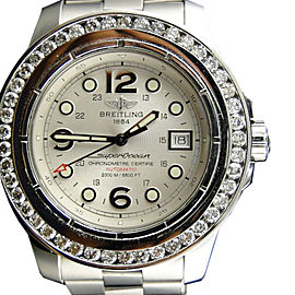 Breitling Superocean 45mm 5 Ct Diamond Bezel Mens Watch