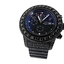Breitling Super Avenger Black On Black 42 Ct Diamond Watch