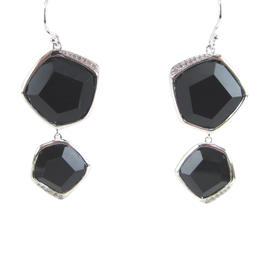 Ippolita Sterling Silver Black Onyx & Diamond 2 Stone Drop Dangle Earrings