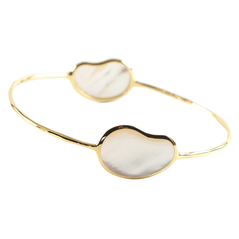 "Image of ""Ippolita 18K Yellow Gold & White Mother of Pearl 2 Stone Bean Bangle"""