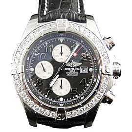 Breitling Super Avenger 1 Row Aeromarine 3.5 Ct Genuine Diamond Mens 48 mm Watch