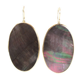 Ippolita 18K Yellow Gold Polished Rock Candy Black Shell Large Oval Earrings
