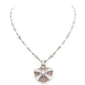Judith Ripka Rose Quartz Diamond Heart Pendant Necklace