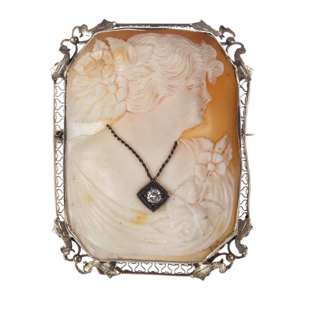 "Image of ""Victorian Elizabethan 14 kt White Gold Filigree Shell Cameo w/ Diamond"""