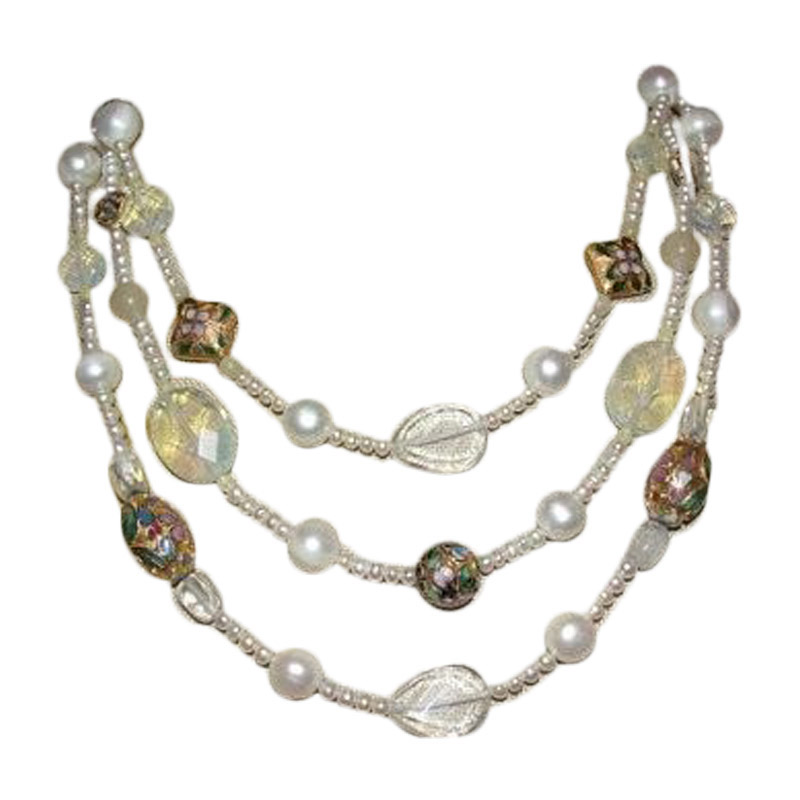 "Image of ""Miriam Haskell Brass Triple Strand Faux Pearl, Cloisonne,Opalite,Glass"""