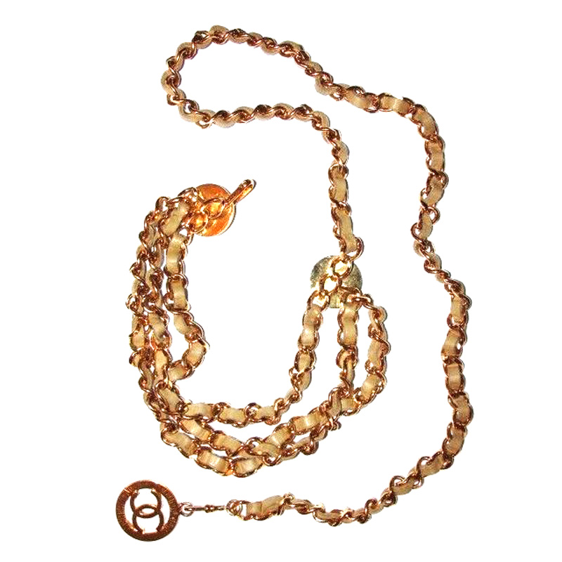 "Image of ""Chanel 18k Gold Plated Beige Leather Monogrammed Coin Triple Strand"""