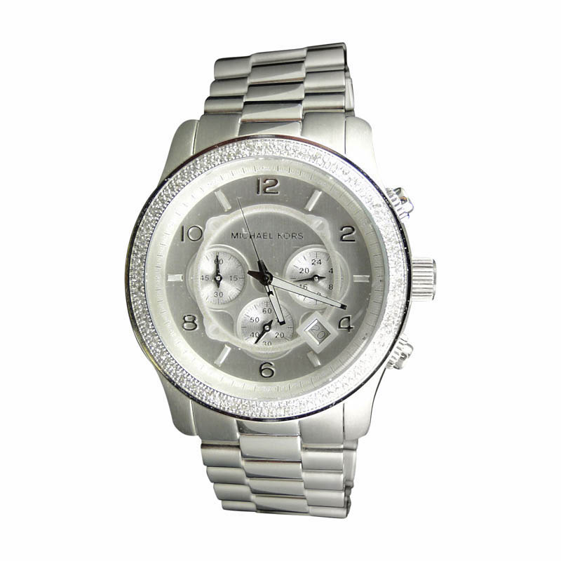 "Image of ""Micheal Kors 45mm Stainless Steel Watch with Custom Set Diamonds"""