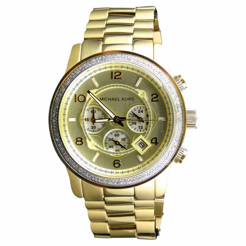 "Image of ""Micheal Kors Gold 45mm Stainless Steel with Custom Set Diamonds Watch"""