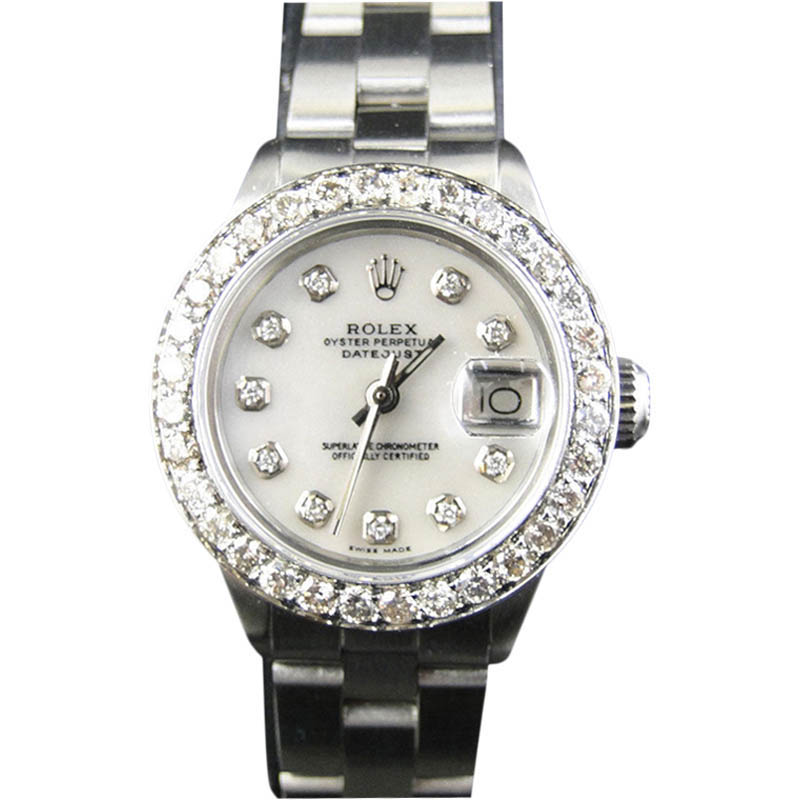 "Image of ""Rolex Datejust Oyster 2.5 ct Diamond Stainless Steel White MOP Dial"""
