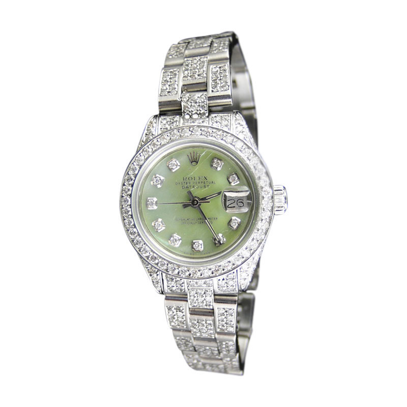 "Image of ""Rolex Datejust Oyster Stainless Steel 8 Ct Diamond Green MOP Dial"""