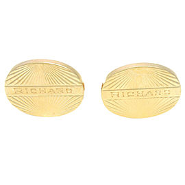 14K Yellow Gold Lucien Piccard Oval Richard Cufflinks