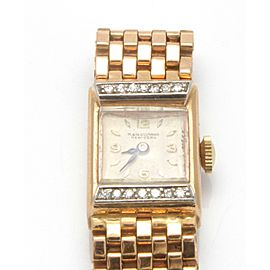 M&W Ullmann Retro 1940-50's 14K Rose Gold Diamond Watch