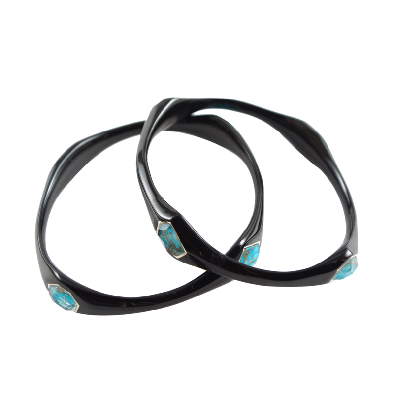 "Image of ""Ippolita Black Resin Sterling Silver Bronze Turquoise Bangle Bracelet"""